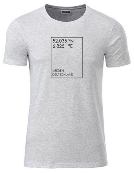 GEO Koordinaten individuell im Rechteck | T-Shirt JUNGE | ASH HEATHER (hellgrau)