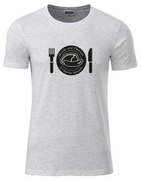Woste und Fleesch ist beste Gemöös | T-Shirt JUNGE | ASH HEATHER (hellgrau)