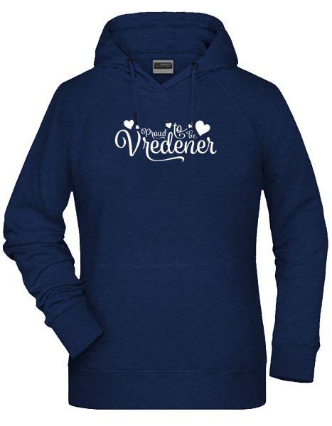 Proud to be Vredener | Hoodie WOMAN | INK MELANGE (blau)
