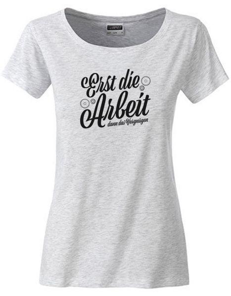 Erst die Arbeit dann das Vergnügen | T-Shirt DEERNE | ASH HEATHER (hellgrau)