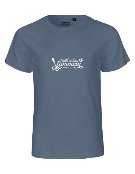 Nicht dran fummeln wenn't löpp | T-Shirt KINDER | DUSTY INDIGO (blaugrau)