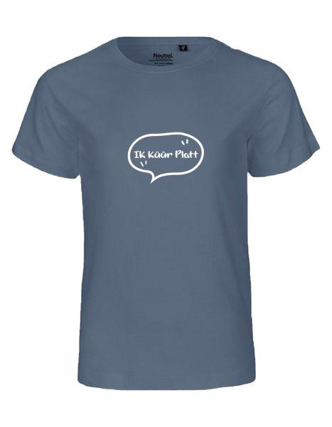 Ik küür platt | T-Shirt KINDER | DUSTY INDIGO (blaugrau)