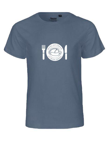 Woste und Fleesch ist beste Gemöös | T-Shirt KINDER | DUSTY INDIGO (blaugrau)