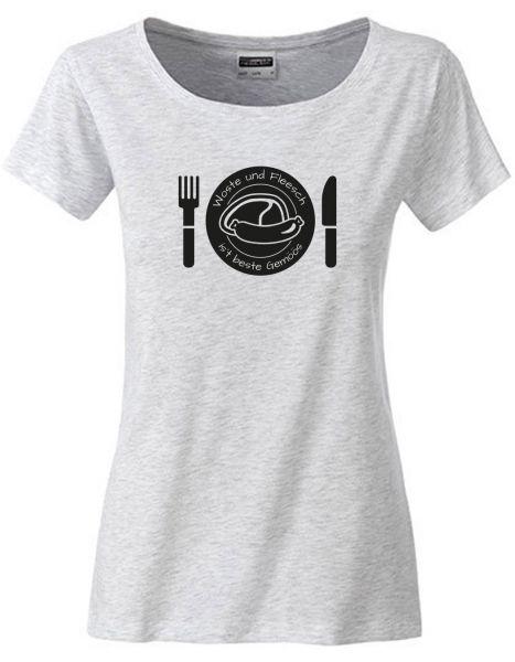 Woste und Fleesch ist beste Gemöös | T-Shirt DEERNE | ASH HEATHER (hellgrau)