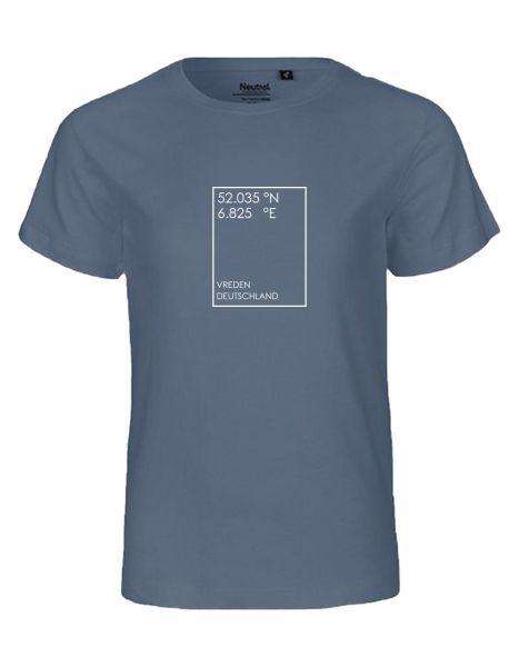 GEO Koordinaten individuell im Rechteck | T-Shirt KINDER | DUSTY INDIGO (blaugrau)