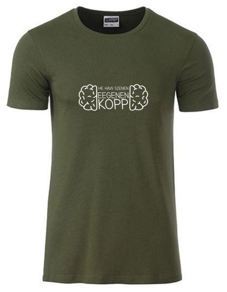 He häw sienen eegenen Kopp | T-Shirt JUNGE | OLIVE GREEN (olivgrün)