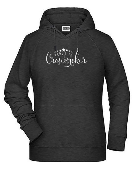 Proud to be Crosewicker | Hoodie WOMAN | BLACK HEATHER (schwarzgrau)
