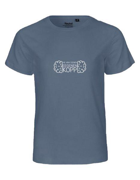 He häw sienen eegenen Kopp | T-Shirt KINDER | DUSTY INDIGO (blaugrau)