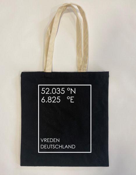 GEO Koordinaten individuell im Rechteck | Baumwoll Tasche | Einkaufstasche