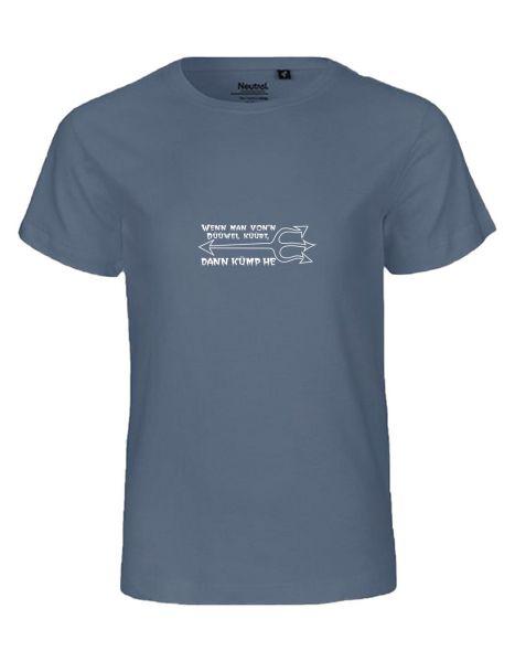 Wenn man von'n Düüwel küürt... | T-Shirt KINDER | DUSTY INDIGO (blaugrau)
